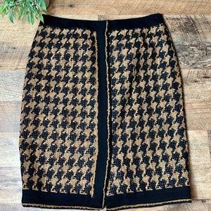 Carlisle Plaid Wool Pencil Skirt Textured Lined